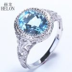 HELON Vintage <b>Art</b> <b>Deco</b> Style Flawless 2.34ct Oval 100% Genuine Blue Topaz Sterling Silver 925 Engagement Wedding <b>Jewelry</b> Ring