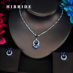 HIBRIDE Charm Classic Flower Blue Cubic Zirconia Full <b>Jewelry</b> Sets For Women Dress <b>Accessories</b> Wedding Bride Necklace Set N-353