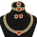 2018 Fashion Dubai Women's <b>Jewelry</b> Sets Red Crystal Necklace Earrings <b>Jewelry</b> African Charm Bride Gold <b>Jewelry</b> <b>Accessories</b>