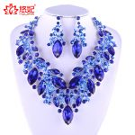 New Luxury Royal Blue Crystal Bridal <b>Jewelry</b> Set For Brides Necklace Earring Wedding Party <b>Accessories</b> Plants type women <b>jewelry</b>