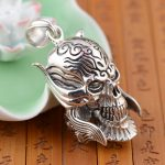Skull S925 Sterling Silver Pendant Silver <b>Jewelry</b> Wholesale <b>antique</b> style unique cool struck