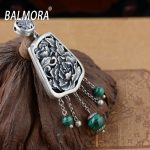BALMORA 100% Real 925 Sterling Silver <b>Jewelry</b> Peony Malachite Vintage Flower Pendants for Necklaces Women <b>Accessories</b> SY12348