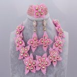 New Arrival Pink Beads Crystal Nigerian African Wedding Necklace Set Dubai Costume Party <b>Jewelry</b> Set For Bride <b>Accessories</b> Store