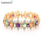 LUOTEEMI New Luxurious Multi Colors CZ Stone Crystal Bracelets Bangles for Women Gift Bridal Wedding Party <b>Jewelry</b> <b>Accessories</b>
