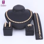 OUHE African Beads <b>Jewelry</b> sets Silver/Gold Color Bib Decoration Bridal Engagement Gift Clothing <b>Accessories</b> 4Pcs