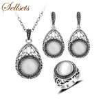 Sellsets Fashion Vintage Bridal Party Jewellery Sets <b>Antique</b> Silver Color Natural Stone Necklace Earrings Set For Women Gift