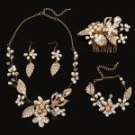 4 pieces bridal <b>Jewelry</b> Sets hair Combs/Necklaces/Earrings/bracelets handmade wedding <b>accessories</b> wholesale pearl <b>jewelry</b> sets