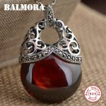 BALMORA 925 Sterling Silver Red & White Mosaic Pendants for Women Gifts Vintage <b>Jewelry</b> <b>Accessories</b> Without a Chain MN12322