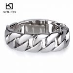 Kalen Fashion <b>Jewelry</b> Heavy Chunky Cuban Link Chain Bracelet 22cm Stainless Steel High Polished Shiny Bracelet For Men <b>Accessory</b>