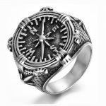 Titanium Stainless Steel Man Ring Compass <b>Antique</b> Silver Punk Rock Hip Hop Biker Band Male Signet Vintage <b>Jewelry</b> QMHJE DAR308
