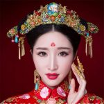 Chinese Style Wedding <b>Accessories</b> <b>Jewelry</b> Sets Golden Coronet Earrings Hairpin Cloisonne Stone Crystal Bridal Headdress