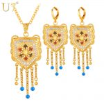 U7 Wedding <b>Accessories</b> Tassels Long Necklace Set Gold Color Trendy Party Long Earrings Indian <b>Jewelry</b> Set For Women S631
