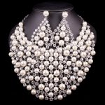 Luxury Silver Plated Pearl Bead Bridal <b>Jewelry</b> Sets Wedding Necklace Earrings For Brides Party Costume <b>Accessories</b> Gifts Women