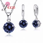 JEXXI Wedding <b>Jewelry</b> Sets For Brides 925 Sterling Silver Austrian Crystal Women Necklaces And Earrings Set <b>Accessory</b>