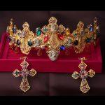 Baroque Color Crystal bride headdress <b>jewelry</b> sets Hair <b>Accessories</b> cross Earrings + crown retro beauty married girlfriend gift
