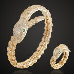 Gold Color Green Eye Snake Animal Bangle <b>Accessory</b> cubic Zircon Love Bangle Anel Men copper Wedding Anniversary <b>Jewelry</b>