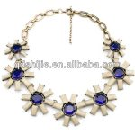 New Styles 2014 <b>Antique</b> Gold Color Resin Crystal Flowers Necklace <b>Jewelry</b> Fashion Choker Statement Necklaces for Women