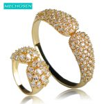 MECHOSEN Simple Style Silver Color Full Zirconia Bracelet Bangle Ring <b>Jewelry</b> Sets For Women Wedding Decoration Hand <b>Accessories</b>