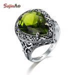 Szjinao Love Rings For Women <b>Antique</b> <b>Jewelry</b> Green Olivine Women Authentic 925 Sterling Silver Ring Tibetan Handmade Ring
