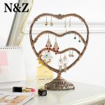 Free shipping 58 Holes <b>Antique</b> brass Heart shape <b>Jewelry</b> Earring display,Necklace showcase <b>Jewelry</b> Display Rack stand holder