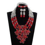 Handmade Flowers Real Coral Bead Women Natural Red Coral Bead <b>Jewelry</b> Set Bib Wedding <b>Jewelry</b> Set Silver <b>Accessory</b> JewelryABH784