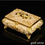 European Accents Gold Plating with White Epoxy Rose Flower Design Footed Metal Storage Trinket <b>Jewelry</b> Box