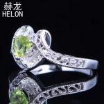 925 Sterling Silver Trillion 5x5mm 100% Genuine Peridot & Diamonds <b>Jewelry</b> Engagement Vintage <b>Art</b> <b>Deco</b> Wedding Ring wholesale