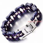 Men <b>Jewelry</b> Cool Blue Stainless Steel Silicone Bracelets Biker Bicycle Motorcycle Chain Men's Bracelet <b>Accessories</b> Free Shipping