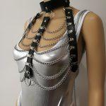 New Fashion Leather Style WRB936 Leather Harness Bondage Beach Chain Collar Goth Choker Shoulder Necklace <b>Jewelry</b> <b>Accessories</b>