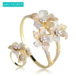 MECHOSEN Flower 3 Tones Big Bangles Ring Set Prong Setting Zirconia <b>Jewelry</b> Sets For Women Party Hand <b>Accessories</b> anillos joyas