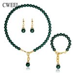 CWEEL Bridal <b>Jewelry</b> Sets For Women Simulated Pearl <b>Accessories</b> Necklace Earrings Bracelet Ring Gold Color Imitated Crystal Set
