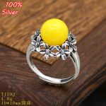 100% 925 sterling silver Adjustable Ring Blank Flower Inner 10MM Setting Round Stone <b>Antique</b> Silver Classical platin