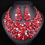 Fashion Leaf Red Crystal Rhinestone Necklace Earrings set <b>Jewelry</b> Sets For Bride Party Wedding Bridesmaid Costume <b>Accessories</b>