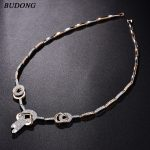BUDONG Women Pendant&Necklace Birthday Gift Silver/Gold Color AAA+ Chain Cubic Zirconia <b>Accessory</b> Wedding <b>Jewelry</b> XUP808