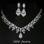 CWWZircons High Quality Cubic Zirconia Bridesmaid <b>Jewelry</b> Sets For Bridal Wedding Earring Necklace <b>Accessories</b> T143