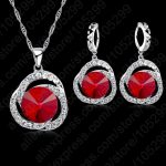 JEXXI Vintage 925 Sterling Silver Red Crystal Cubic Zirconia Women Bridal Wedding <b>Jewelry</b> Sets <b>Accessory</b> Necklace Earrings Set