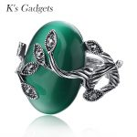 K's Gadgets Carved Ring <b>Antique</b> Silver Plate Natural Green opal <b>Jewelry</b> Vintage Retro Rings Zircon Big Stone Ring For Women