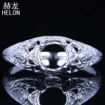925 Sterling Silver Round 5-6mm Prong Setting <b>Art</b> <b>Deco</b> Antique Semi Mount Ring Fine <b>Jewelry</b> Solid Silver Engagement WeddingRing