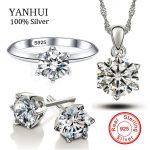 YANHUI Original Solid 925 Silver <b>Jewelry</b> Suit Top Sona 6mm 1 Carat CZ Diamant Zircon <b>Accessories</b> Sets for Women Bride Girl Z1263
