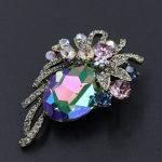 Sparkling Oval Shaped Austrian Crystal Brooch <b>Antique</b> Gold Color Stellux Rhinestone Flower Pins <b>Jewelry</b> for Women