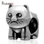 925 Sterling Silver <b>Antique</b> Animal Bead Cat Charm DIY <b>Jewelry</b> Making For Woman Style Snake Chain Bracelets