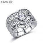 PRCOLUX <b>Antique</b> Female Geometric Ring Set 925 Sterling Silver <b>jewelry</b> White CZ Wedding Engagement Rings For Women Gifts QFA23