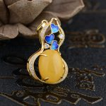 Deer King <b>jewelry</b> pendant S925 Sterling Silver Pendant inlaid beeswax <b>antique</b> Shaolan craft female models