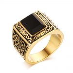 <b>Antique</b> Mens Vintage Rings Stainless Steel Faux Black Square Stone Gold-color Men Fashion Turkish <b>Jewelry</b> masculino Anel Aneis