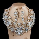 Wholesale new costume african bead bridal wedding <b>jewelry</b> set big flower necklace and earring dress <b>accessories</b> free shipping
