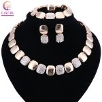 Fashion Women Gold Color <b>Jewelry</b> Sets Necklace Bracelet Earrings Rings Set For African Wedding Bridal Gift <b>Accessories</b>
