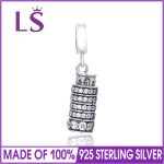 LS <b>Antique</b> Silver Pisa Tower Charms Round Spacer Beads DIY 925 Sterling Silver Fine <b>Jewelry</b> Making