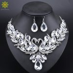 Clear Crystal Bridal <b>Jewelry</b> Sets Silver Color Swan Pendant Necklace Women Gift Party Wedding Prom Necklace Earring <b>Accessories</b>