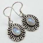 Chanti International Ladies <b>ANTIQUE</b> LOOK EARRINGS <b>Jewelry</b> 3.1 CM, RAINBOW MOONSTONE, Solid Silver
