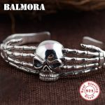 BALMORA Authentic 925 Sterling Silver Vintage Skull Open Bangles for Men Skeleton Punk <b>Jewelry</b> <b>Accessories</b> Esposas SYB21529